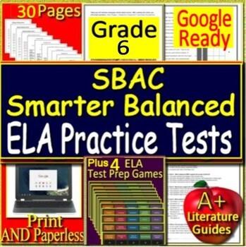 6th Grade Smarter Balanced Test Prep SBAC ELA Practice Tests Games Bundle Google