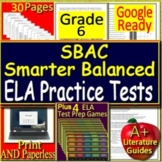 6th Grade Smarter Balanced Test Prep SBAC ELA SELF-GRADING TESTS + Games Bundle