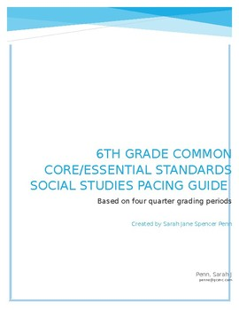 6th Grade Social Studies Common Core Essential Standards Pacing Guide