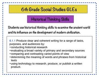 6th Grade Social Studies GLEs Posters