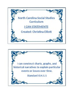 """6th Grade Social Studies """"I CAN"""" Statements"""