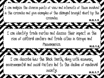 6th Grade Social Studies 'I Can' Statements