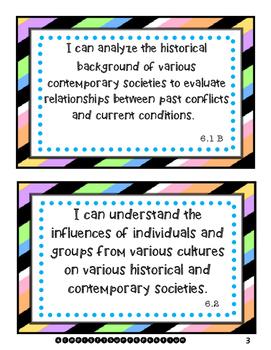 "6th Grade Social Studies ""I Can Statements"" (TEKS)"