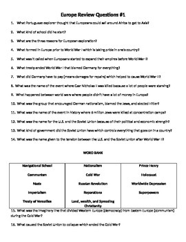 6th Grade Social Studies Review Questions (Europe)