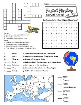 6th Grade Social Studies Review Worksheet GPS
