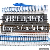 6th Grade Social Studies Spiral Homework: Europe & Canada Units--Aligned to GSE