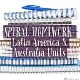 6th Grade Social Studies Spiral Homework: Latin America & Australia Units