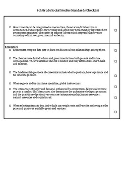 6th Grade Social Studies Standards Checklist (Ohio Standards)
