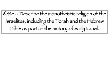 6th Grade Social Studies Tennessee Ancient Israel vocabulary and standards