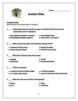 Ancient China Test Worksheets & Teaching Resources | TpT