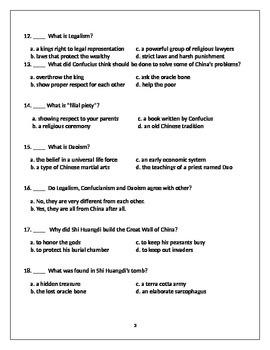 Ancient China Test - 6th Grade Social Studies