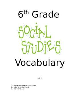 6th Grade Social Studies  Vocabulary