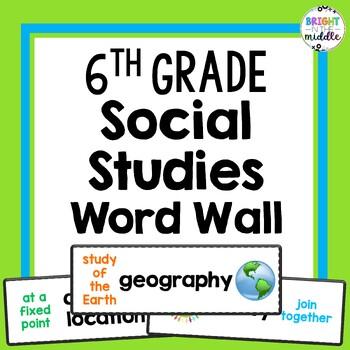 6th Grade Social Studies Vocabulary Word Wall