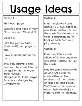 6th Grade Social Studies Word Wall Cards