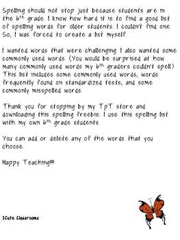 6th Grade Spelling List Freebie