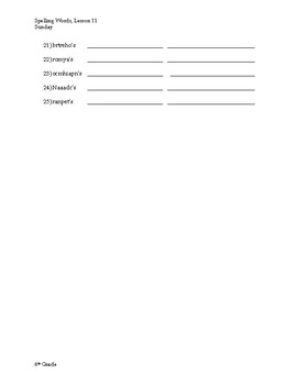 6th Grade Spelling and Vocabulary Weekly Homework, 2ndQuarter