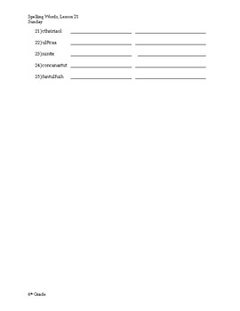 6th Grade Spelling and Vocabulary Weekly Homework, 3rd Quarter