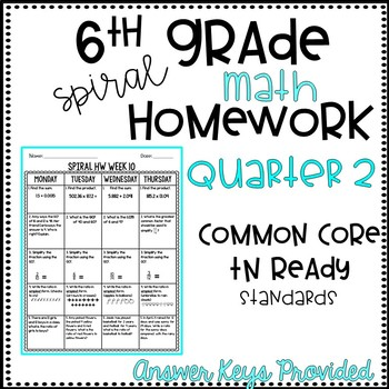 6th Grade Spiral HW Quarter 2 EDITABLE