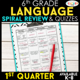 6th Grade Language Spiral Review | 6th Grade Grammar Practice | 1st Quarter