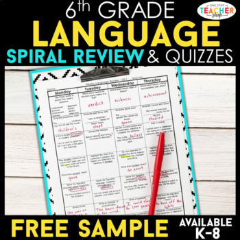 6th Grade Language Homework 6th Grade Daily Language Spiral Review FREE