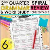 6th Grade Language Spiral Review | 6th Grade Grammar Practice | 2nd Quarter