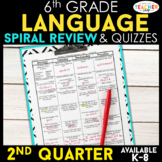 6th Grade Language Spiral Review | Grammar Review | 2nd Quarter