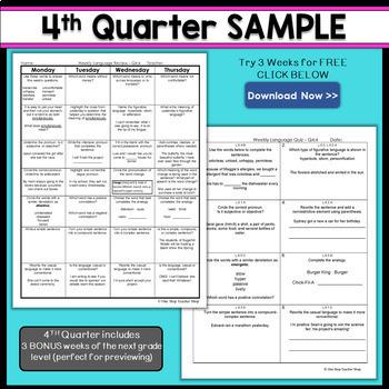 6th Grade Language Homework 6th Grade Daily Language Spiral Review EDITABLE
