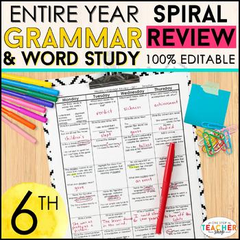 6th Grade Language Spiral Review | 6th Grade Language Arts Homework or Warm Ups