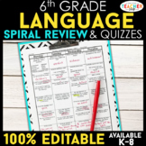 6th Grade Language Spiral Review | Grammar Homework or Warm Ups ENTIRE YEAR