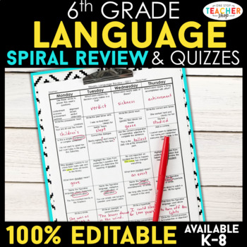 6th Grade Language Spiral Review | Grammar Homework or Warm Ups ENTIRE YEAR