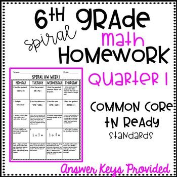 6th Grade Spiral Math Homework Quarter 1 EDITABLE