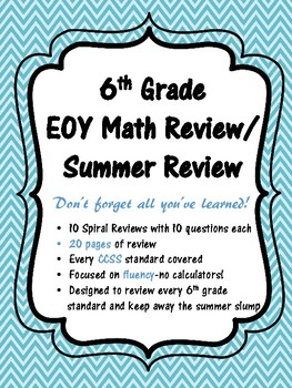 6th Grade Spiral Review - 6th Grade Summer Review Packet NO PREP!