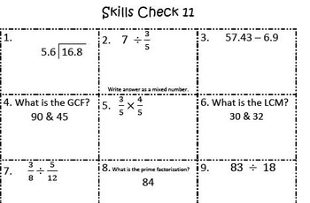 6th Grade Spiral Review Skills Checks **BUNDLE**