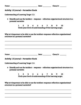 6th Grade Springboard 1.5 Formative Check