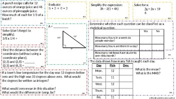 6th Grade Standards Based Math Concept Boards (14-16)