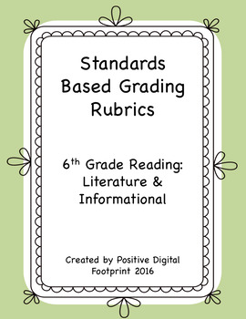 6th Grade Standards Based Rubrics - Reading Lit./Informational (Mega Bundle)