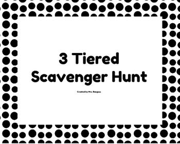 6th Grade Statistics 3 Tiered Scavenger Hunt