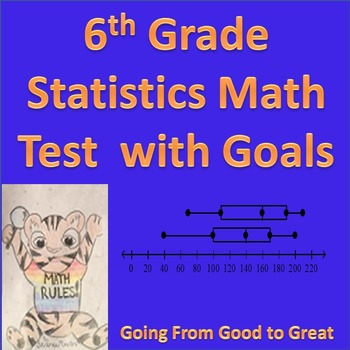 6th Grade Statistics Math Test with Goals