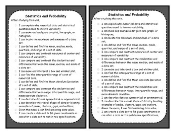 6th Grade Statistics Objectives Posters and Journal Checklists