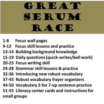 6th Grade Storytown Great Serum Race Unit - Main Idea, Details, Centers