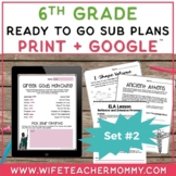 Sub Plans 6th Grade Set #2- Emergency Substitute Plans Sixth Grade for Sub Tub