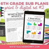 Sub Plans 6th Grade Set #2- Emergency Substitute Plans Sixth Grade for Sub Tub