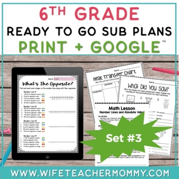6th Grade Sub Plans Ready To Go for Substitute. DAY #3. No Prep. One full day.