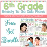 6th Grade Sub Plans Ready To Go for Substitute. No Prep. FOUR full days Bundle.