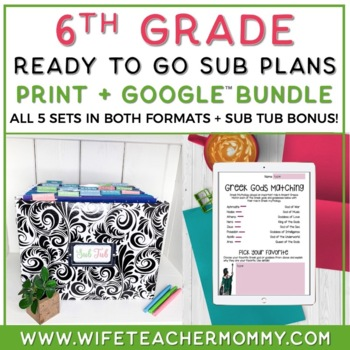 6th Grade Sub Plans Ready To Go for Substitute. No Prep. One full WEEK!