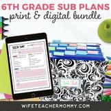 6th Grade Sub Plans- Emergency Substitute Plans Sixth Grade for Sub Tub