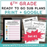 6th Grade Sub Plans Set #1- Emergency Substitute Plans Sixth Grade for Sub Tub