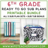 6th Grade Sub Plans Ready To Go for Substitute. No Prep. TWO full days bundle.