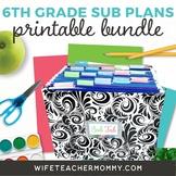6th Grade Sub Plans 2 Set Bundle- Emergency Substitute Plans for Sub Tub