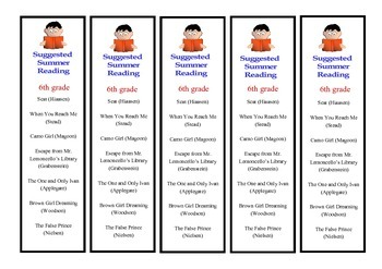 6th Grade Suggested Summer Reading Bookmarks